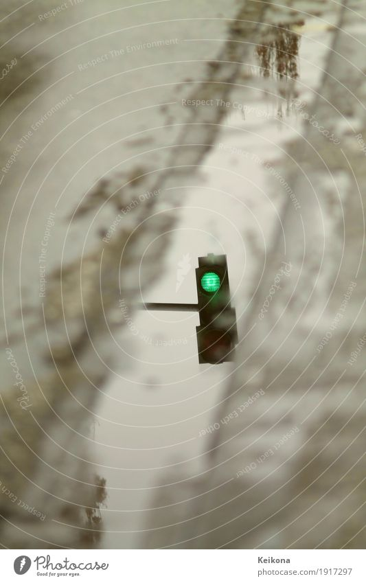 Green streetlight reflextion Environment Water Autumn Winter Storm Gale Thunder and lightning Ice Frost Snow Snowfall Town Transport Road traffic Motoring