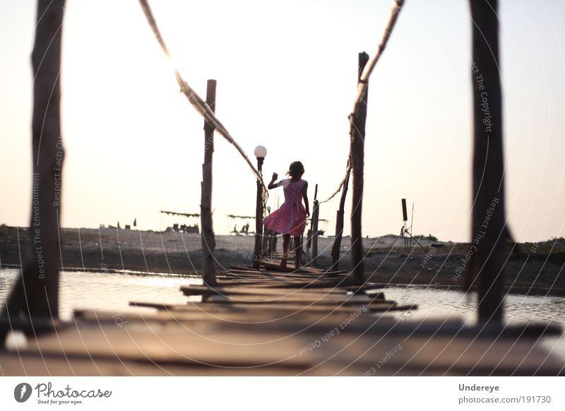 Bridge to Beach Human being Child Water Girl Old Sky Sun Ocean Summer Joy Freedom Wood Sand Coast Walking