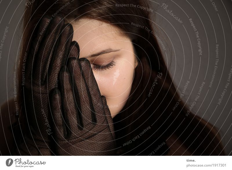 . Feminine Woman Adults 1 Human being Gloves Brunette Long-haired To hold on Dream Sadness Dark Beautiful Passion Safety Protection Concern Grief Lovesickness
