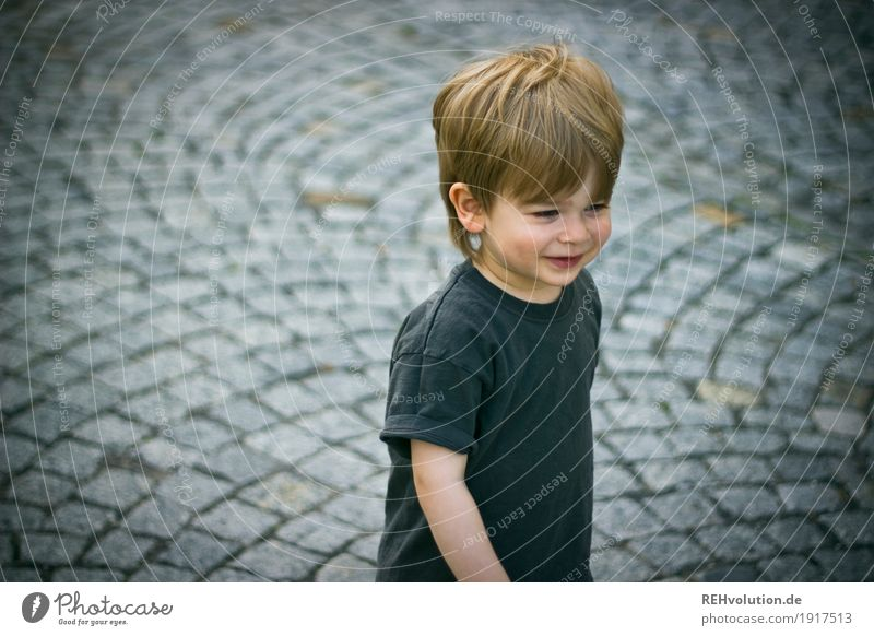 Human being Child Summer Joy Street Style Boy (child) Small Happy Gray Stone Going Contentment Masculine Infancy Authentic