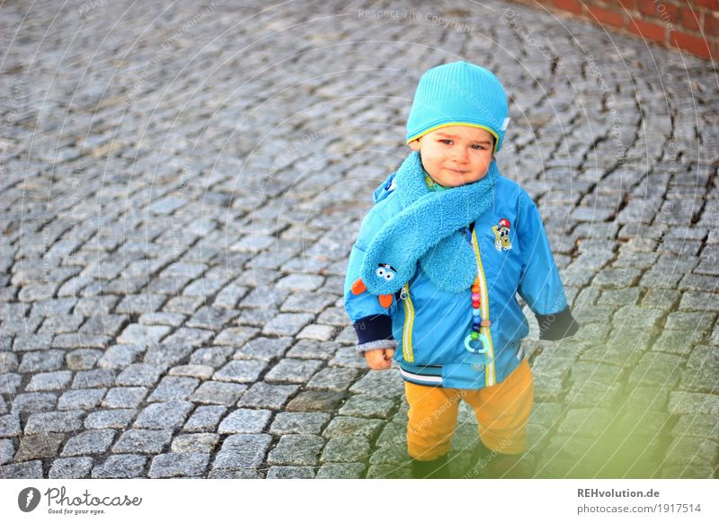 Human being Child Blue Street Natural Boy (child) Small Gray Going Infancy Authentic Stand Smiling Cute Curiosity Safety