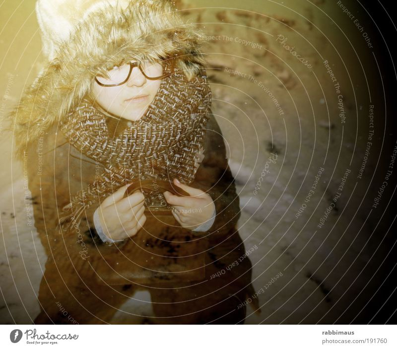 Child Youth (Young adults) Beautiful Winter Face Cold Snow Feminine Movement Happy Dream Sadness Warmth Bright Art