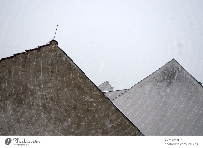 Old White Winter House (Residential Structure) Cold Wall (building) Gray Snowfall Wall (barrier) Building Architecture Weather Arrangement Gloomy Roof Simple