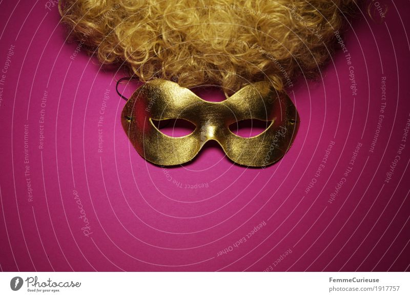 Mask (02) Eyes Leisure and hobbies Joy Dress up Gold Masked ball Pink Curl Hair and hairstyles Blonde Wig Hide Concealed Roleplay Carnival Phantom Anonymous