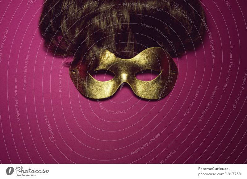 Mask (01) Hair and hairstyles Eyes Leisure and hobbies Joy Gold Brunette Wig Dress up Hide Carnival Pink Concealed Anonymous Masked ball Short haircut Roleplay