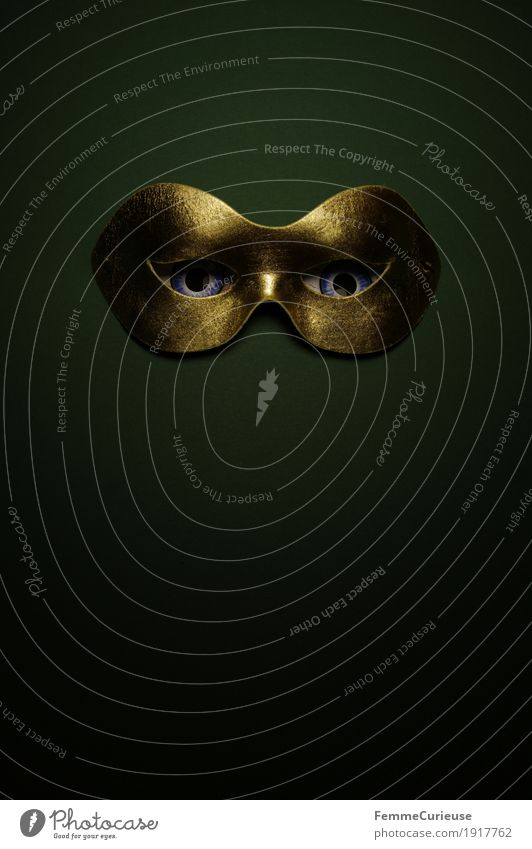 In sight (06) Eyes Fear Hide Carnival Dress up Mask Masked ball Gold Dark green Phantom Observe Looking Tighten Concealed Anonymous Mysterious Confidant