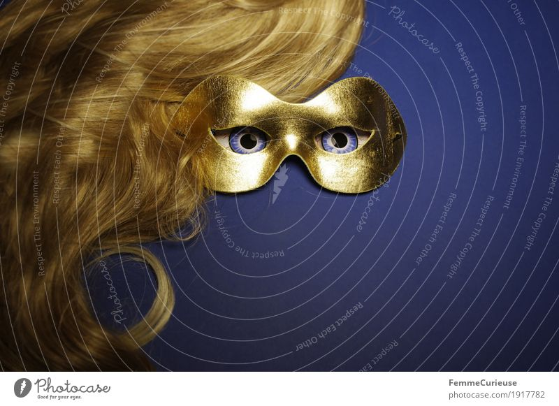 In sight (07) Hair and hairstyles Eyes Fear Blonde Wig Mask Gold Blue Hide Anonymous Dress up Carnival Masked ball Concealed Observe Looking Intensive Roleplay