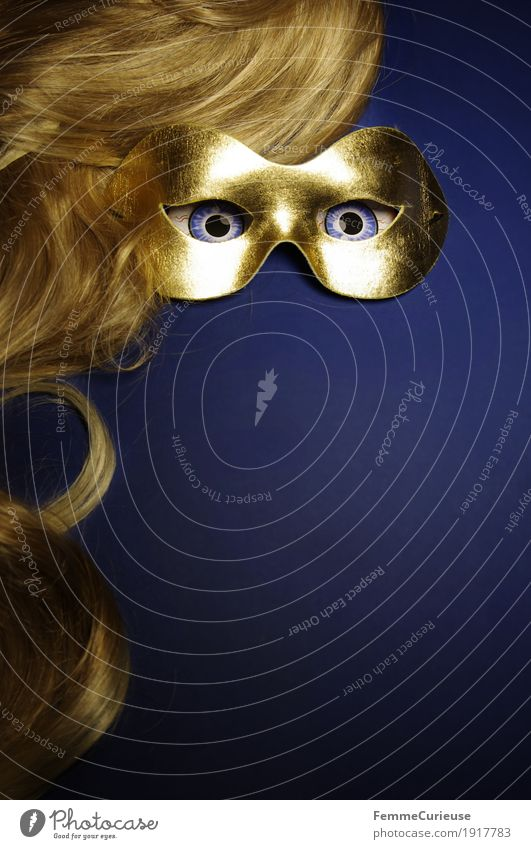In sight (03) Eyes Fear Mysterious Hide Mask Dress up Gold Blue Blonde Hair and hairstyles Carnival Wig Intensive Looking Masked ball Anonymous Long-haired