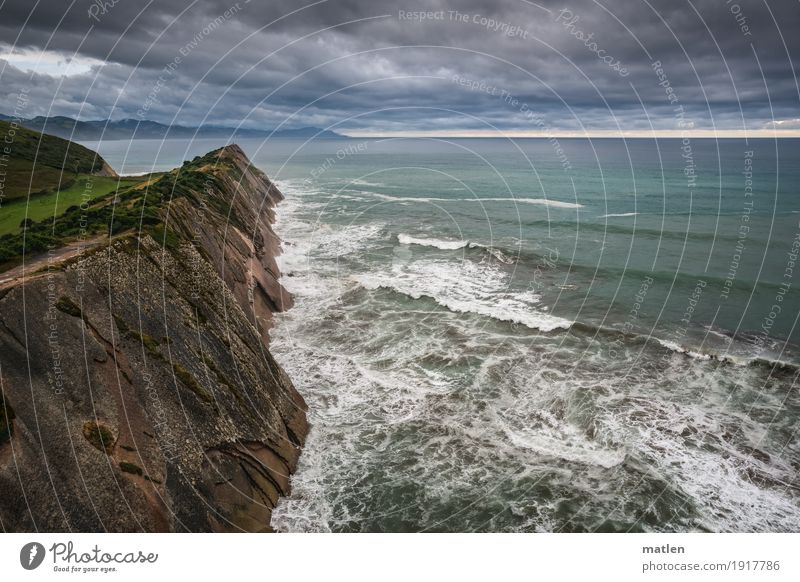 Zumaia Nature Landscape Plant Sky Clouds Storm clouds Horizon Sunrise Sunset Weather Bad weather Wind Grass Hill Rock Mountain Waves Coast Beach Bay Reef Ocean