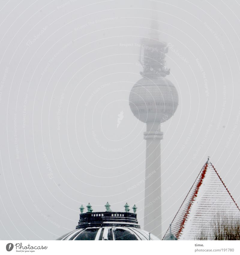 Mascot with by-catch Fog Berlin Berlin TV Tower Television tower Exterior shot Frontal Roof House (Residential Structure) Living or residing Café Communicate
