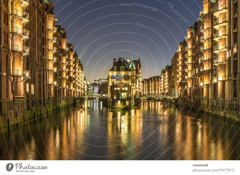 The moated castle in the Speicherstadt Germany Europe Port City Old town Deserted Harbour Bridge Building Architecture Tourist Attraction