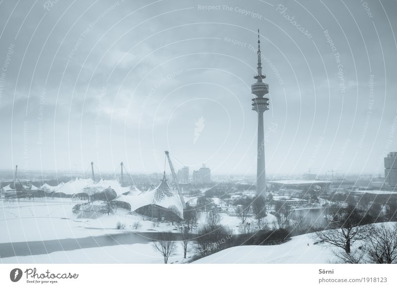valid and grey 1 Tourism Trip Winter Snow Sporting Complex Beautiful weather Bad weather Ice Frost Park Munich Germany Europe Town Television tower