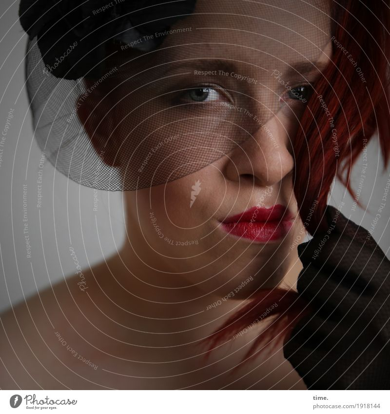 anastasia Feminine Woman Adults 1 Human being Gloves Hat Red-haired Long-haired Observe Looking Sadness Wait Dark Beautiful Secrecy Watchfulness Curiosity