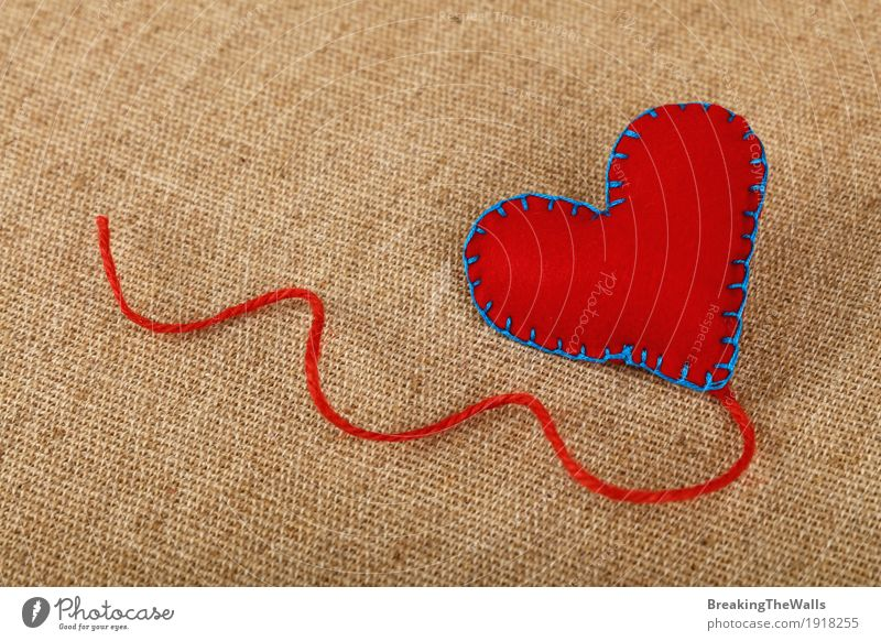 Red felt craft stitched heart with jute twine on canvas Leisure and hobbies Handicraft Handcrafts Valentine's Day Mother's Day Art Cloth Heart Love Natural