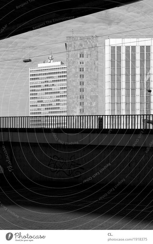 under the rheinkniebrücke, düsseldorf Beautiful weather Duesseldorf Town High-rise Places Bridge Manmade structures Building Architecture Wall (barrier)