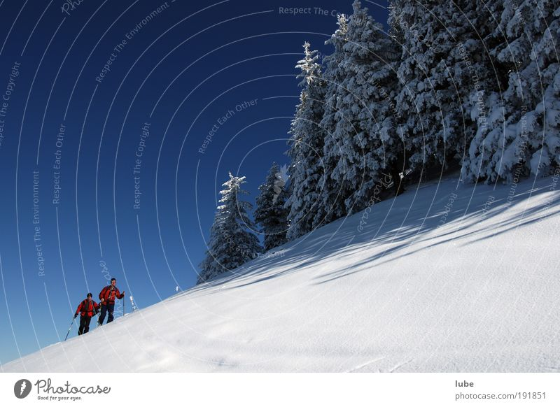 Human being Nature Blue Vacation & Travel Winter Calm Far-off places Sports Snow Mountain Landscape Leisure and hobbies Hiking Tourism Skiing Fitness