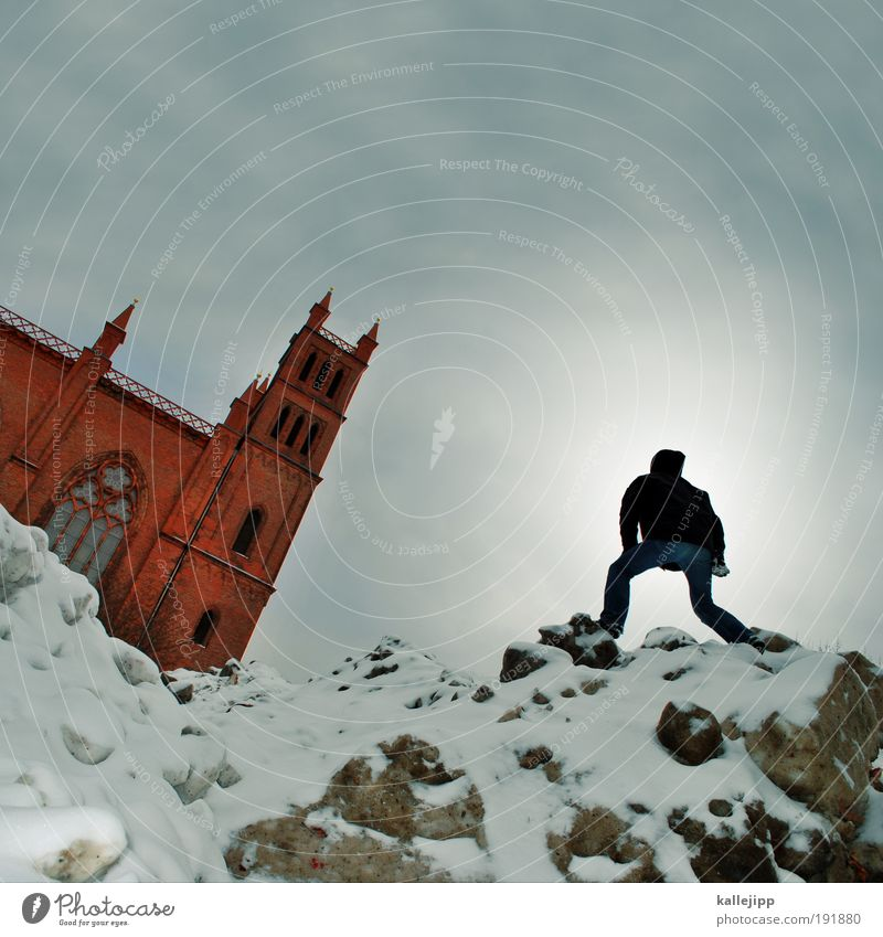 the sermon on the mountain Winter Snow Human being Masculine Man Adults Life 1 30 - 45 years Church Tourist Attraction Vacation & Travel Hiking