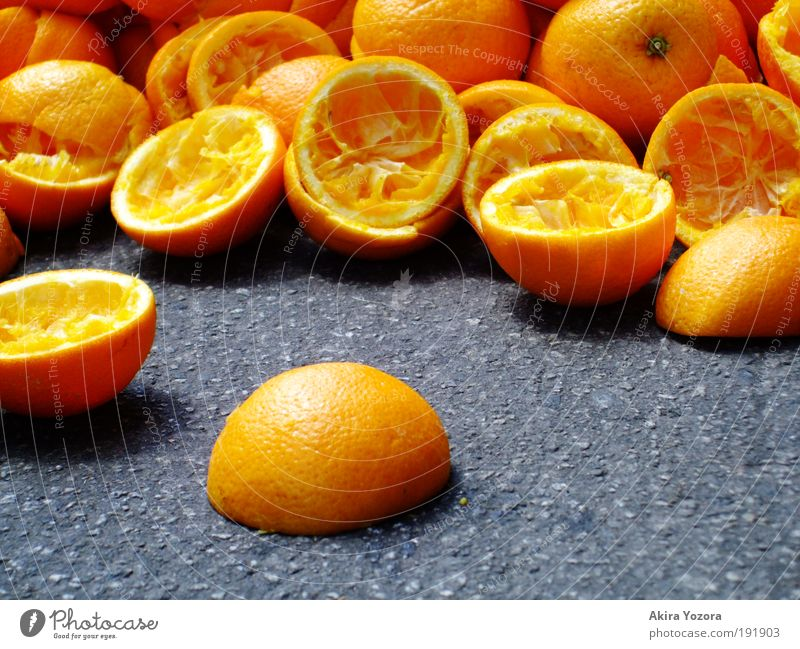 Vitamin C + Food Fruit Orange Nutrition Organic produce Vegetarian diet Yellow Black Healthy Cold drink Colour photo Exterior shot Close-up Detail Deserted