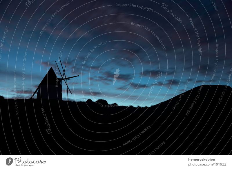 Windmill Ruin Building Landmark Old Historic Blue Horizon Vacation & Travel Tradition Environment Mill wind Blade Rotation wheat flour Sky Silhouette Ancient