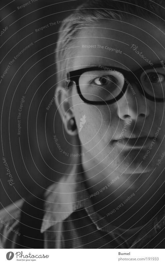 nerd Masculine Head Young man Eyeglasses Face portrait Black & white photo