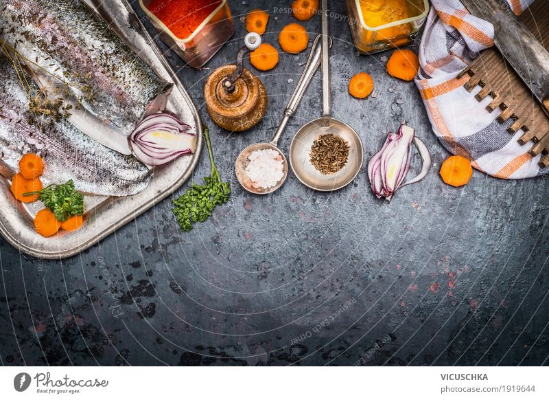 Healthy Eating Food photograph Style Design Nutrition Table Fish Herbs and spices Kitchen Vegetable Organic produce Restaurant Crockery Vegetarian diet