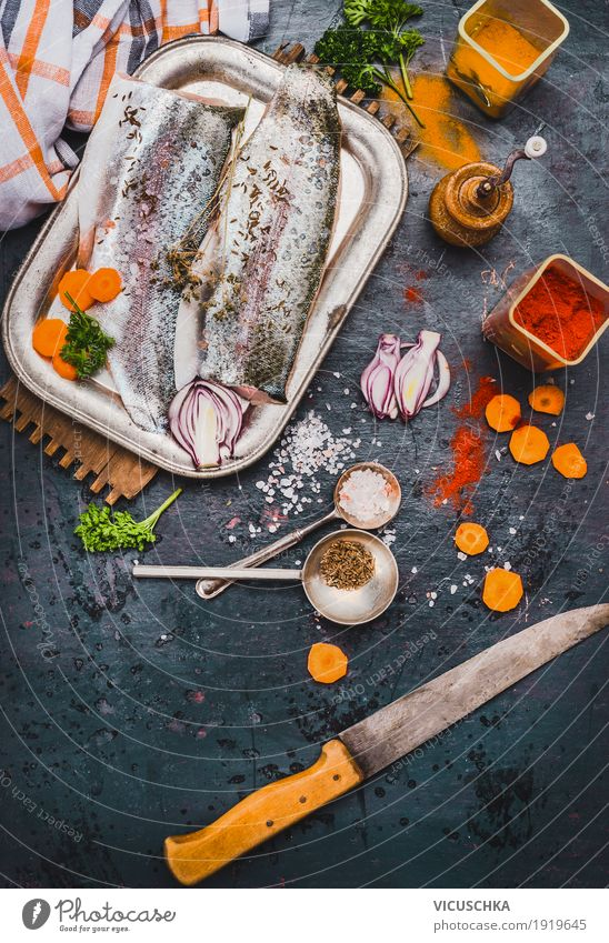 Fish fillets with kitchen knife and spices Food Vegetable Herbs and spices Nutrition Lunch Organic produce Vegetarian diet Diet Crockery Knives Style Design