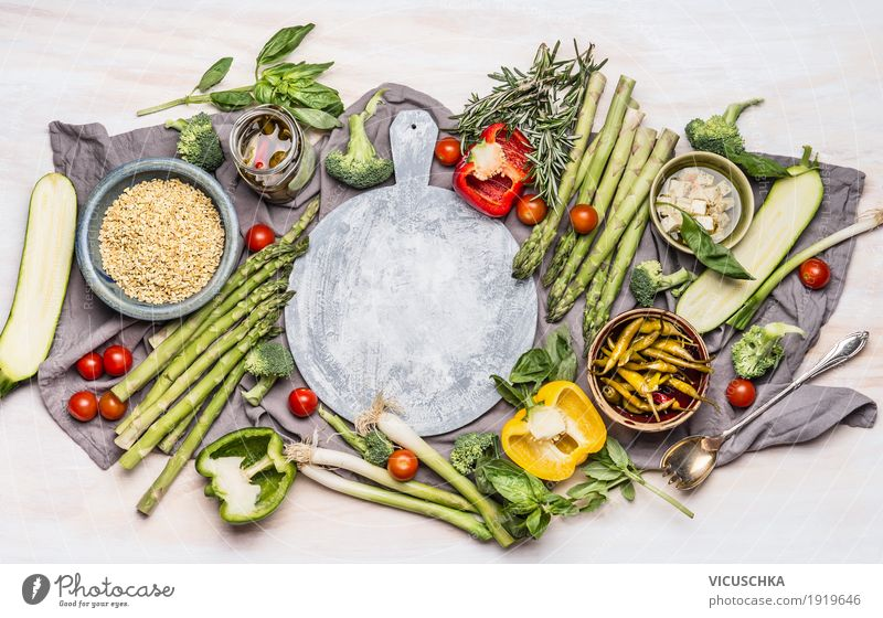 Healthy nutrition with vegetables and pearl barley Food Vegetable Grain Nutrition Lunch Organic produce Vegetarian diet Diet Crockery Spoon Style Design