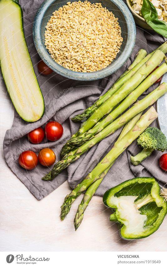 Healthy Eating Food photograph Life Style Design Nutrition Table Kitchen Vegetable Grain Organic produce Crockery Dinner Vegetarian diet