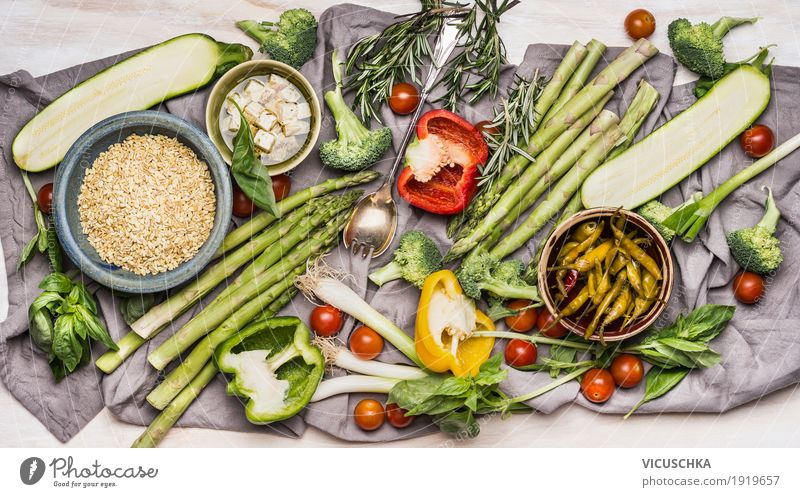 Ingredients for delicious vegetarian cuisine with organic vegetables Food Vegetable Grain Herbs and spices Cooking oil Nutrition Lunch Dinner Organic produce