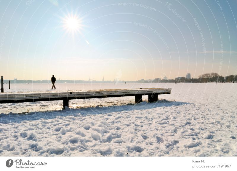 Human being Sky Nature Water Blue White Winter Cold Snow Emotions Lake Ice Contentment Going Esthetic Hamburg