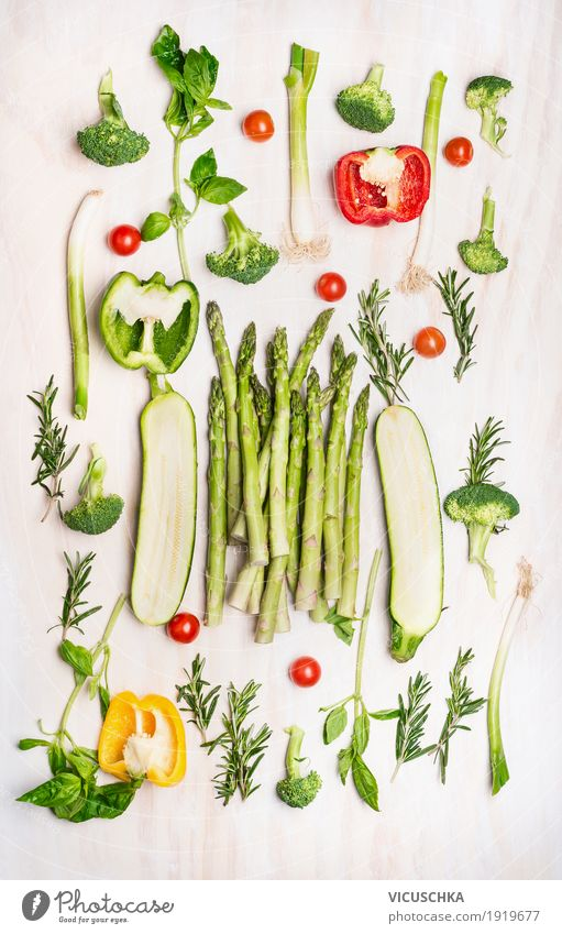 Various green vegetables Food Vegetable Herbs and spices Nutrition Organic produce Vegetarian diet Diet Style Design Healthy Healthy Eating Life Asparagus