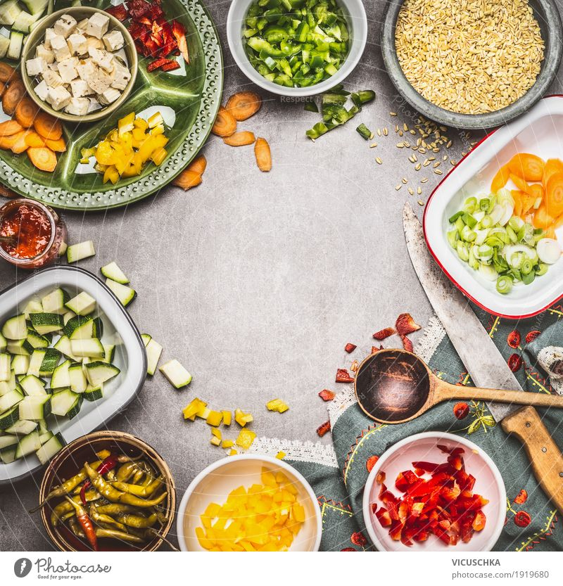 Healthy vegetarian cooking with feta, vegetables and pearl barley Food Cheese Vegetable Grain Herbs and spices Cooking oil Nutrition Lunch Dinner