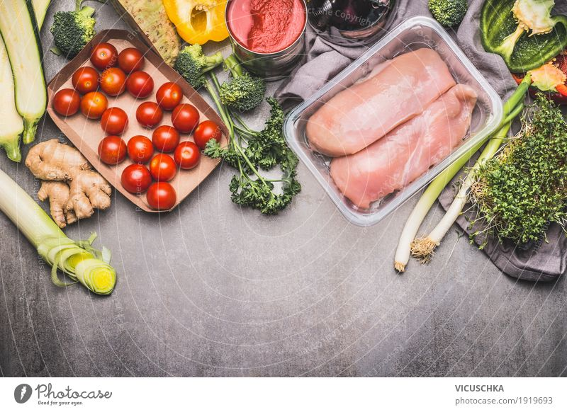 Healthy food with chicken breast and vegetables Food Meat Vegetable Lettuce Salad Herbs and spices Nutrition Organic produce Diet Shopping Style Design