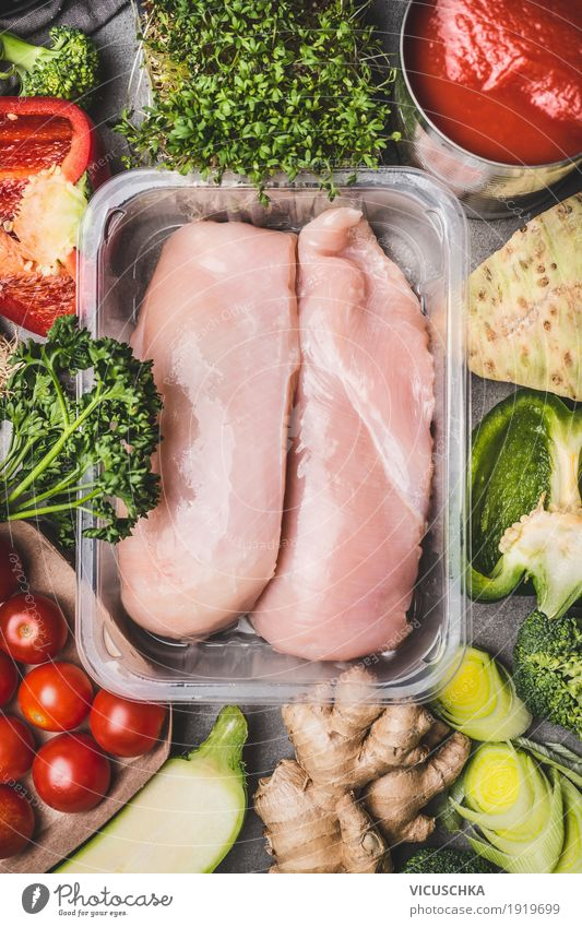 Chicken breast fillets packed with vegetables Food Meat Vegetable Herbs and spices Nutrition Lunch Organic produce Diet Shopping Style Design Healthy Eating