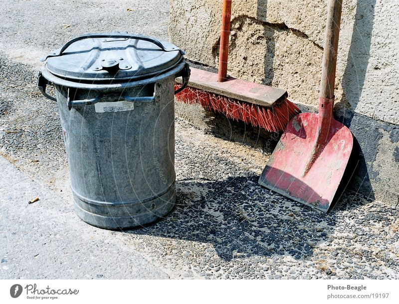 Dirty Cleaning Trash container Broom Shovel