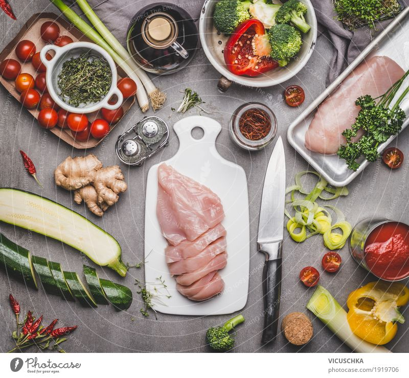 Healthy food with chicken breast and vegetables Food Meat Vegetable Herbs and spices Cooking oil Nutrition Lunch Dinner Buffet Brunch Organic produce Diet