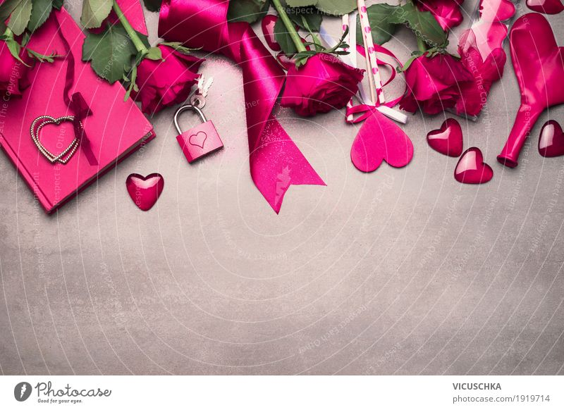 Valentine's Day Background with Pink Roses and Decoration Elegant Style Design Party Restaurant Flower Bouquet Bow Sign Heart Love Emotions Tradition