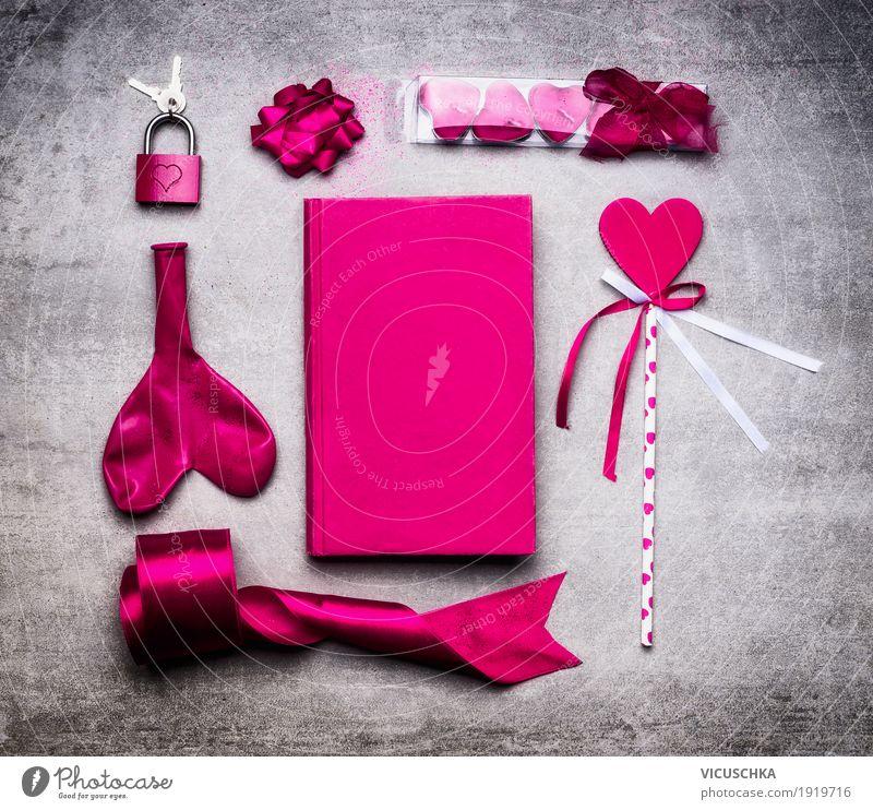 Interior design Emotions Love Style Feasts & Celebrations Design Pink Decoration Elegant Heart Sign Symbols and metaphors Still Life Lock Key Valentine's Day