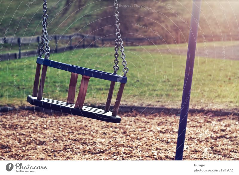 vetus et persolus Playing Village Playground To swing Old Trashy Loneliness Infancy Meadow Fence Swing Chain Seat Past Broken Longing Transience Colour photo