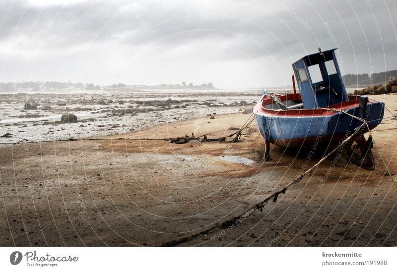 Sitting on dry land II Water Sky Storm clouds Horizon Bad weather Fog Rain Coast Beach Navigation Boating trip Fishing boat Harbour Rope Wait Loneliness
