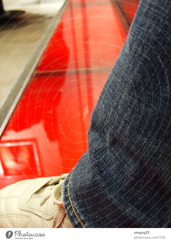 Human being Red Footwear Glass Sit Modern Jeans Floor covering Pants Store premises Statue Art Leather Sweden Macro (Extreme close-up)