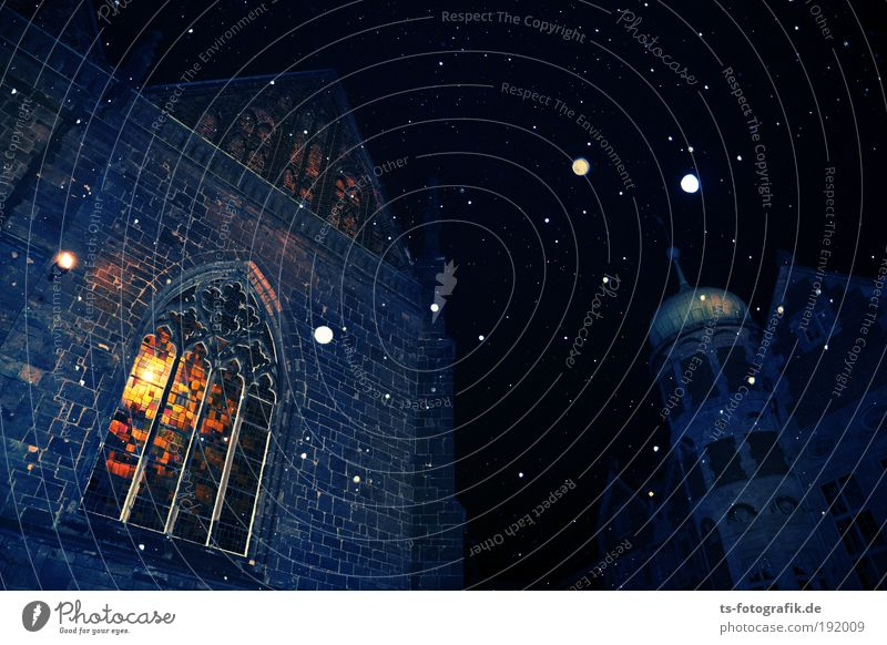 Blue Window Black Cold Warmth Architecture Building Religion and faith Stone Lamp Snowfall Glass Church Threat Stars Roof
