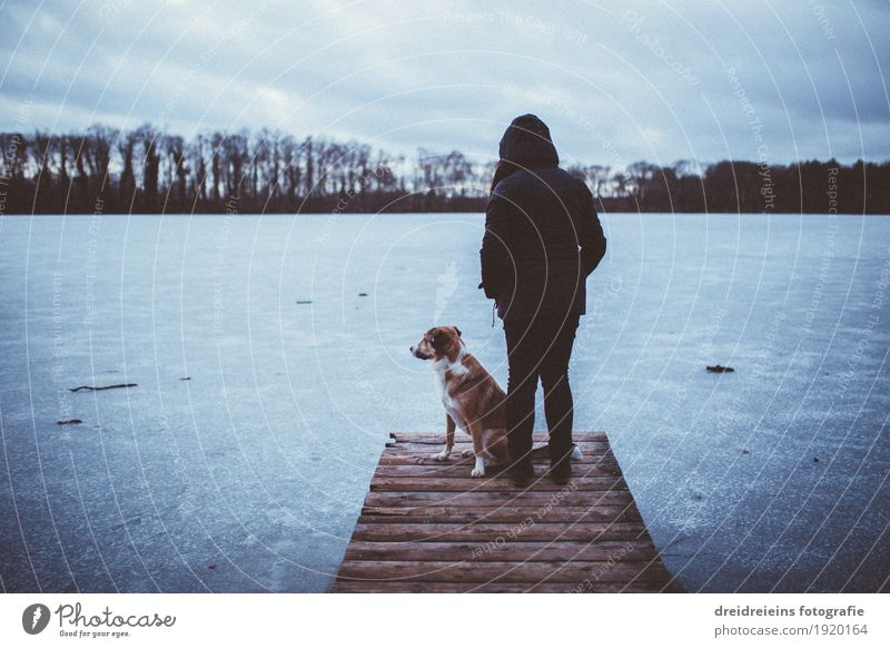 Winter impressions. Human being Nature Landscape Water Horizon Fog Ice Frost Lakeside Animal Dog Looking Stand Wait Together Cold Safety (feeling of) Agreed