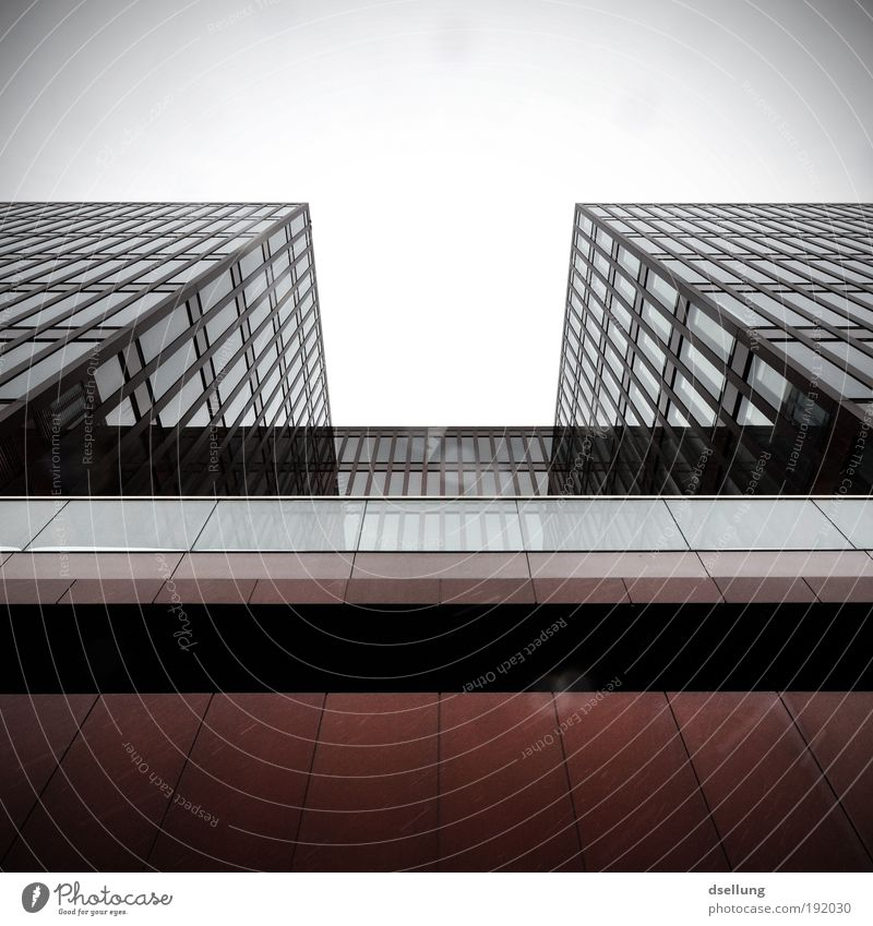 Infinite widths Germany Europe Port City High-rise Manmade structures Facade Window Glas facade Threat Sharp-edged Large Cold Town Gray Red Black White Lavazza
