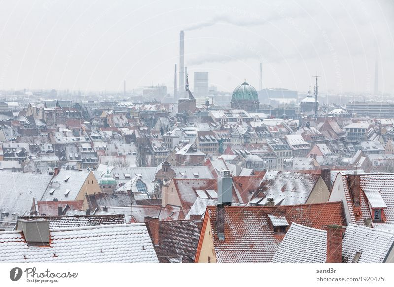 View of the German city Nuremberg above the rooftops with snow Sightseeing Winter Air Traffic Control Tower Calm Tourism aerial architecture Bavaria building