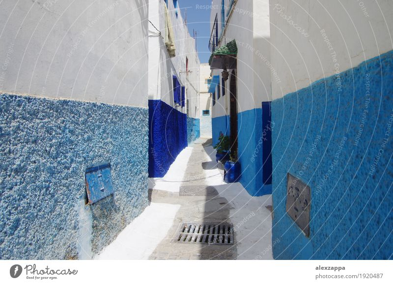Rabat alleys Town Building Street Blue White Morocco medina intricated Exterior shot Day Wide angle Alley Narrow Blue-white Old town Cute Calm verwinkelt