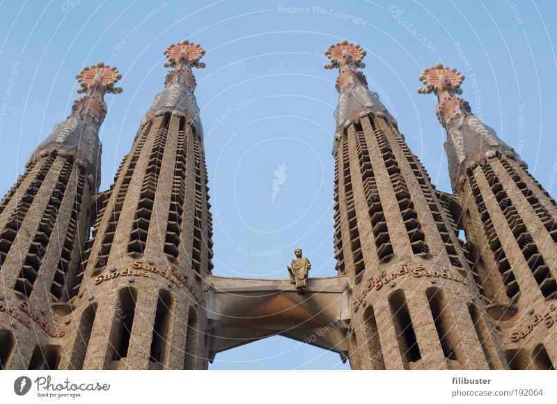 Barcelona Wall (building) Architecture Sand Stone Building Wall (barrier) Art Concrete Esthetic Church Europe Tower Manmade structures Crucifix