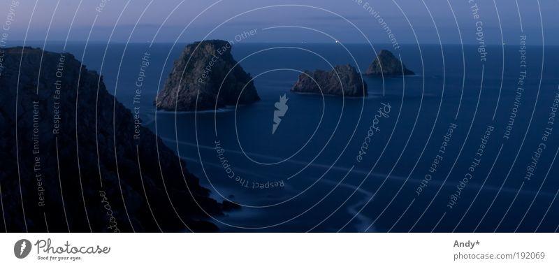 Water Ocean Blue Vacation & Travel Calm Black Far-off places Dream Landscape Coast Stars Horizon Rock Trip Tourism