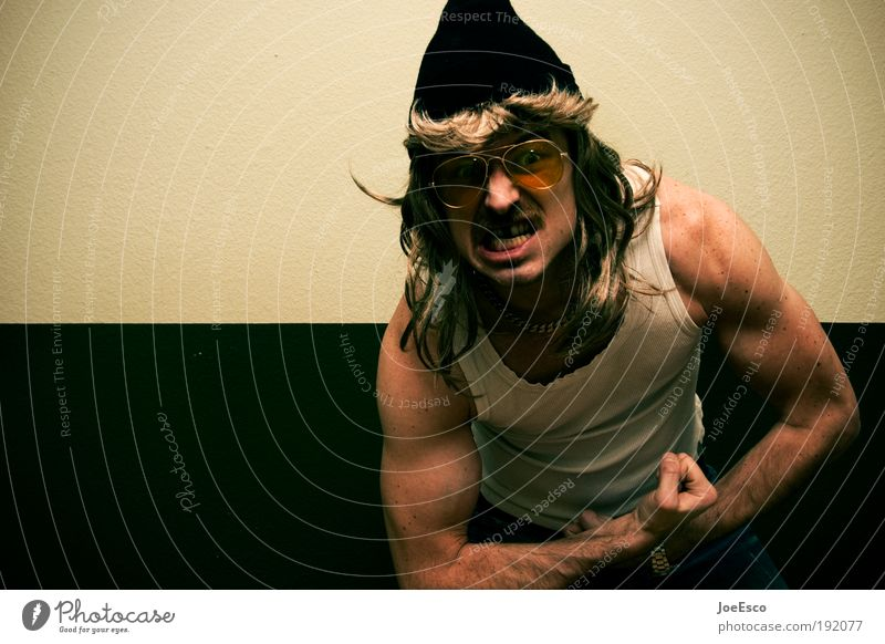 Man Adults Life Hair and hairstyles Arm Masculine Wild Crazy Uniqueness Fitness Anger Cap Facial hair Whimsical Trashy Bizarre