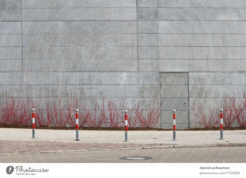 Spring!!! Bushes Facade Door Traffic infrastructure Street Concrete Gray Red Deserted Copy Space top